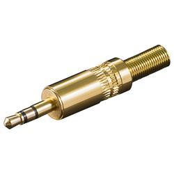 Teleplugg stereo 3.5 mm, metallhölje, guldpläterad