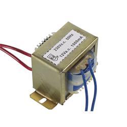 Transformator, 230 V till 12 V, 1A, 12 VA