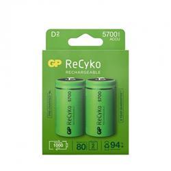 GP ReCyko laddbart D-batteri, 5700 mAh, 2-pack