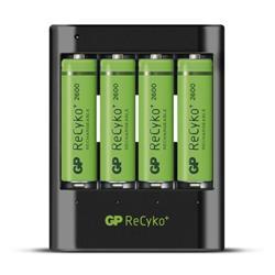 GP ReCyko standard batteriladdare U421 + 4 AA-batterier