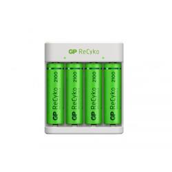 GP ReCyko standard batteriladdare E411 + 4 AA-batterier