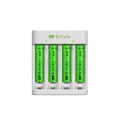 GP ReCyko standard batteriladdare E411 + 4 AAA-batterier