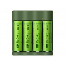 GP ReCyko batteriladdare B421 + 4 AA-batterier