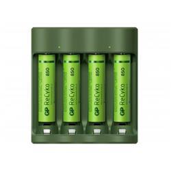 GP ReCyko batteriladdare B421 + 4 AAA-batterier