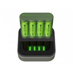 GP ReCyko batteriladdare B421 + 4 AA-batterier + D451