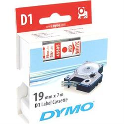 DYMO D1, märktejp, 19 mm, 7 meter, röd text - vit tejp