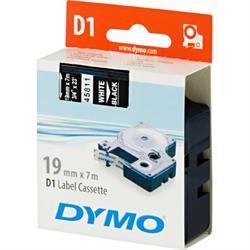 DYMO D1 märktejp, 19 mm, 7 meter, vit text - svart tejp