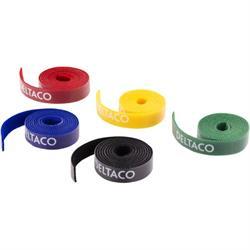 DELTACO kabelsorteringskit, kardborrband i olika färger 5-pack