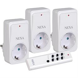 NEXA NEYC-3, startkit med 3 pluginmottagare och fjärrkontroll