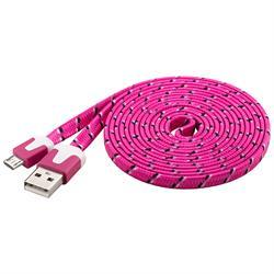 USB 2.0-kabel A hane > microB hane, 2 meter platt, rosa