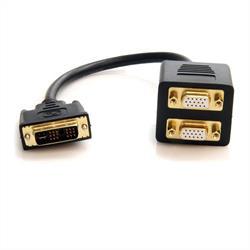 30 cm analog DVI-I till 2x VGA-video splitterkabel – M/F