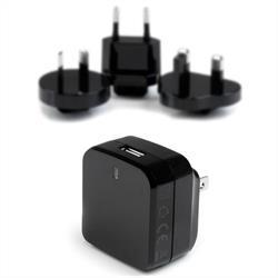 USB-väggladdare med Quick Charge 2.0 - internationell resa – svart