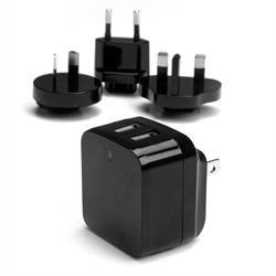 USB-väggladdare med två portar - kraftfull (17W/3,4A) - reseladdare (internationell)
