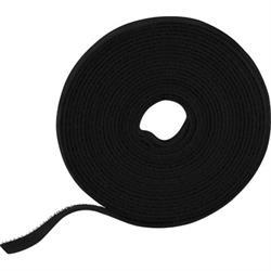 Kardborrband, 5m, 9mm, svart