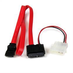 50 cm Slimline SATA till SATA med LP4 strömadapter
