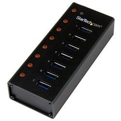 USB 3.0-hubb med 7 portar – skrivbords- eller väggmonterbart metallkabinett