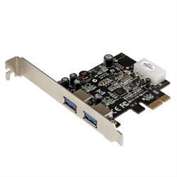 PCI Express (PCIe) SuperSpeed USB 3.0-kortadapter med 2 portar och UASP – LP4-ström
