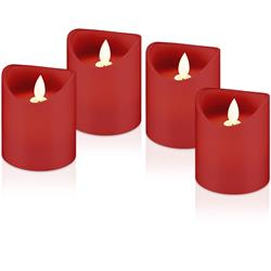 Set med 4 röda LED-ljus i riktig vax