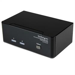 KVM-switch för dubbla DVI-bildskärmar med audio, 2 portar & USB 2.0-hubb