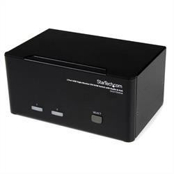 DVI USB KVM-switch för tre skärmar med 2 portar, audio och USB 2.0-hubb