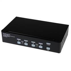 Högupplöst USB DVI Dual Link KVM-switch med 4 portar och audio