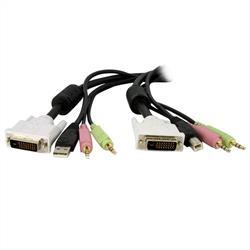 1,8m 4-i-1 USB Dual Link DVI-D KVM-switchkabel med audio & mikrofon