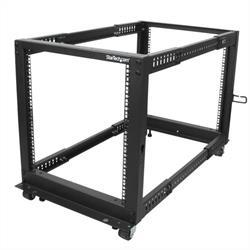 12U serverhylla med justerbart djup, öppen ram, 4 stolpar, hjul/nivåfötter och kabelhanteringskrokar