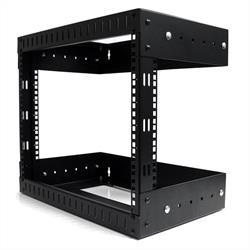 8U väggmonterbar utrustningshylla med öppna ramar - Justerbart djup