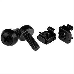 M6x12mm - skruvar och korgmuttrar - 100-pack, svart
