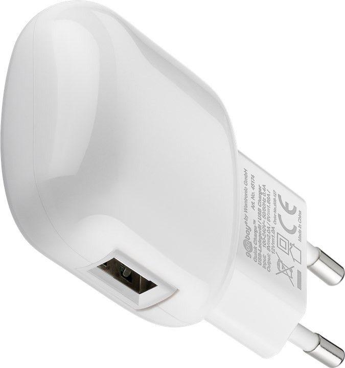 Goobay USB laddare QC3.0, laddar upp till 5A, vit