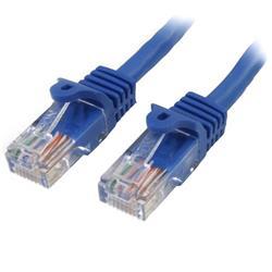 Cat5e Ethernet patchkabel med hakfria RJ45-kontakter - 0,5 m, Blå