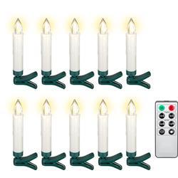 Julgransljus, set med 10 LED-ljus i riktig vax