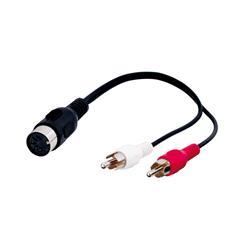 Adapter 5-pol DIN hona till 2 X RCA hane