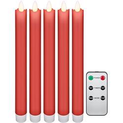 5 röda verklighetstrogna LED vaxljus för ljusstake