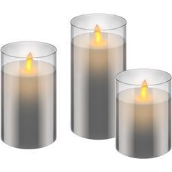 Set med 3 LED-vaxljus i glas