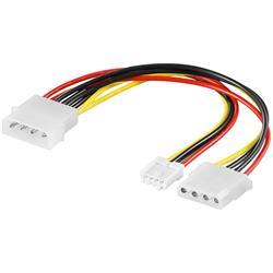 Strömkabel Y-adapter, Molex hane till Molex hona + floppy