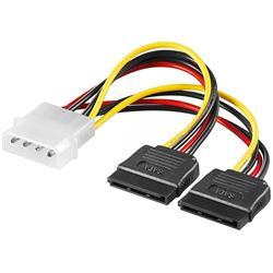 Strömkabel adapter 4-pol Molex hane till 2 x SATA hona