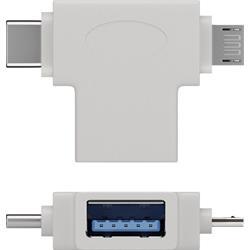 USB 3.0-adapter, A hona till C hane + 2.0 microB hane, vit