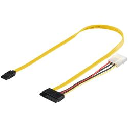 SATA-kabel med strömkabel, rak hane till rak hane