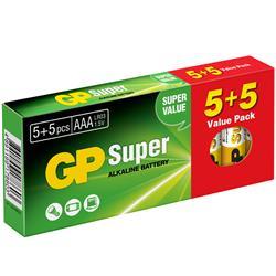 GP Super Alkaline AAA 5+5-pack, 1.5-volts batteri