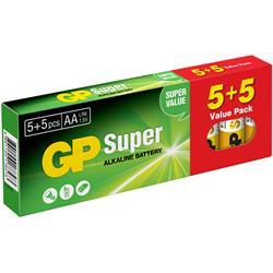GP Super Alkaline AA 5+5-pack, 1.5-volts batteri