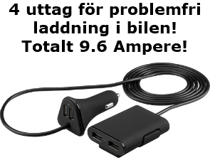 Goobays smarta billaddare med 2+2 uttag och kabel emellan