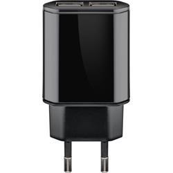 USB-laddare, 100-240V > 2 x USB, 2.4 Ampere, svart