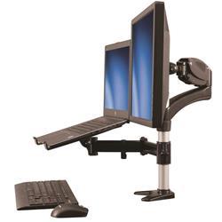 Skrivbordsmonterad monitorarm med stativ för bärbar dator - ledad i alla riktningar