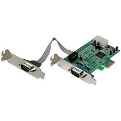 Native lågprofils RS232 PCI express seriellt-kort med 2 portar och 16550 UART