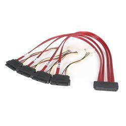 50cm Serial Attached SCSI SAS-kabel - SFF-8484 till 4x SFF-8482 med LP4-ström