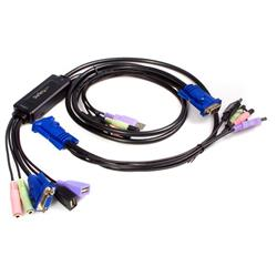 VGA USB-kabel med KVM-switch, 2 portar och audio