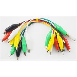 Set med 10 korta kablar med krokodilklämmor, 5 färger