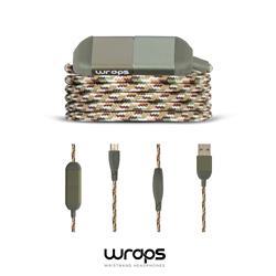 WRAPS Ladd & synkkabel USB A till microB, grön ( Jungle )