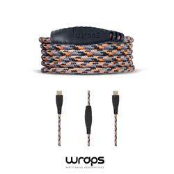 WRAPS Ladd & synkkabel USB C till USB C, Orange/Svart/Grå